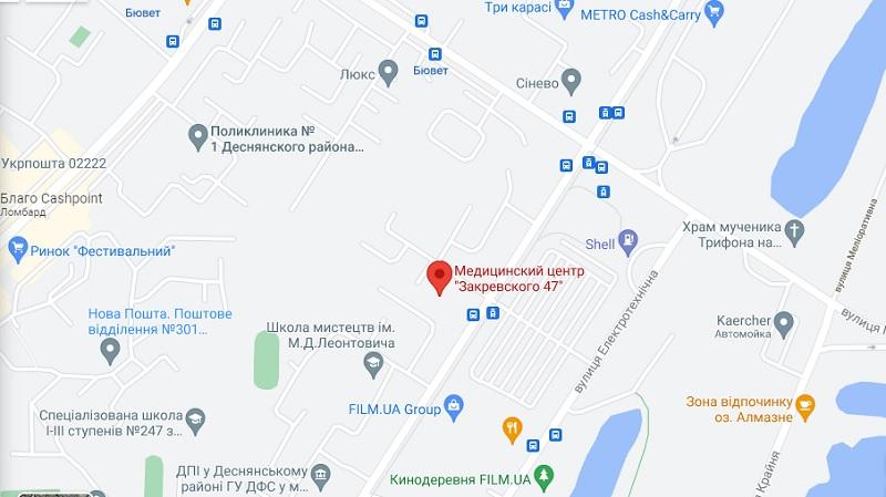 Медцентр Закревского 47 на карте
